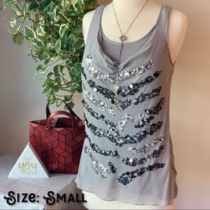 Gray Tank Top with Silver Sequins
